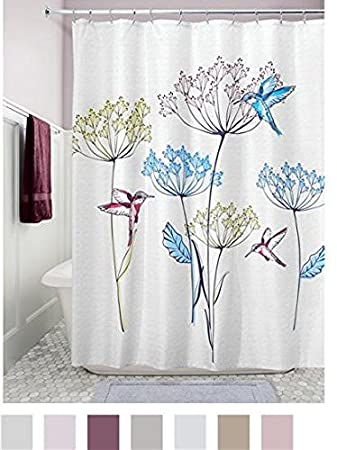 InterDesign Hummingbird Fabric Shower Curtain U2013 72u0026quot; X 72u0026quot;;  Multicolor