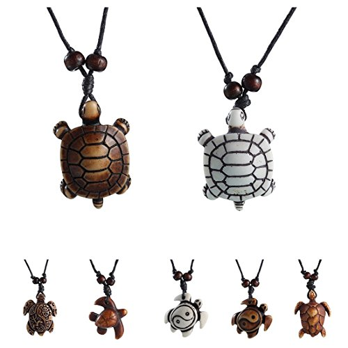 MengPa Cute Sea Turtles Tortoises Pendant Necklaces for Women Men Kids (8 Pcs)