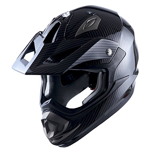 Adult Motocross Helmet Off Road MX BMX ATV Dirt Bike Mechanic Carbon Fiber Black