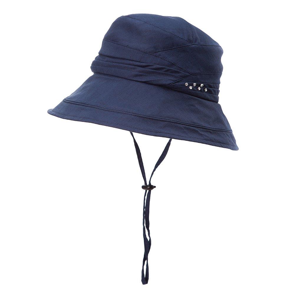 Fancet Packable Bucket Sun Hat for Women Short Brim Beach Safari Hiking Travel Bonnie SPF Navy Blue