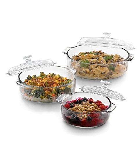 Round With Lid Casserole - Libbey Baker's Basics 3-Piece Glass Casserole Baking Dish Set with Glass Covers