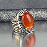 by lucky Mens Stainless Steel Fashion Orange Agate Stone Crystal Ring Gift Size 7 8 9 10 (7)