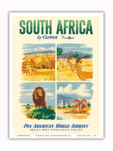 Pacifica Island Art - South Africa by Clipper - Pan American World Airways - Vintage Airline Travel Poster c.1951 - Master Art Print - 9in x 12in