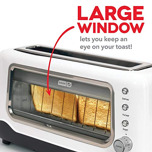 Dash DVTS501WH Clear View: Extra Wide Slot Toaster with Stainless Steel Accents + See Through Window Defrost, Reheat + Auto Shut Off Feature For Bagels, Specialty Breads & Other Baked Goods White