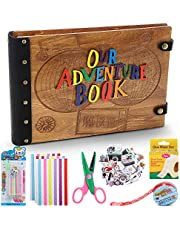 Updated Our Adventure Book,3D Wooden Photo Album DIY Photo Scrapbook Wedding Photo Album Baby Scrapbook,Travel Album with Abundant Accessories Ideal Gift for Special One Friends and Family