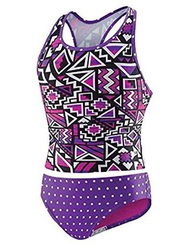 New Speedo Girls' 2-Piece Swim, Tankini. Color Purple. Geo 16 (New Two Piece)