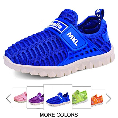 Price comparison product image Boys and Girls Water Shoes Breathable Mesh Slip-on Sneakers for Running Walking Pool Beach (Toddler / Little Kid / Big Kid),TZ0018,blue,25
