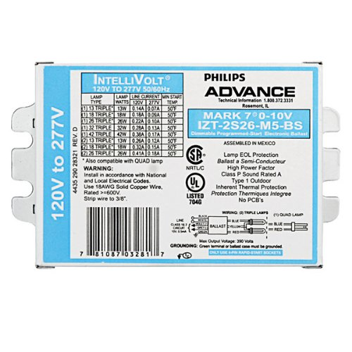 (Advance Mark 7 0-10V IZT-2S26-M5-BS - 2 Lamp Fluorescent Ballast - 26 Watt CFL - 120/277 Volt - Dimming - 1.0 Ballast Factor)