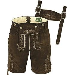 Bayerische Lederhose kurz Herren- Lederhose Herren kurz Tracht aus hochwertiges Veloursleder mit Hosenträger und…