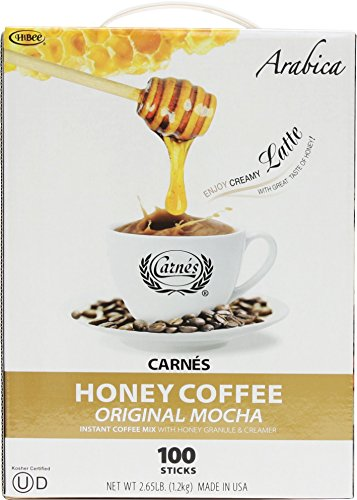 Carnes Premium Instant Coffee Mix with Honey Powder (Original Mocha, 100 Count)