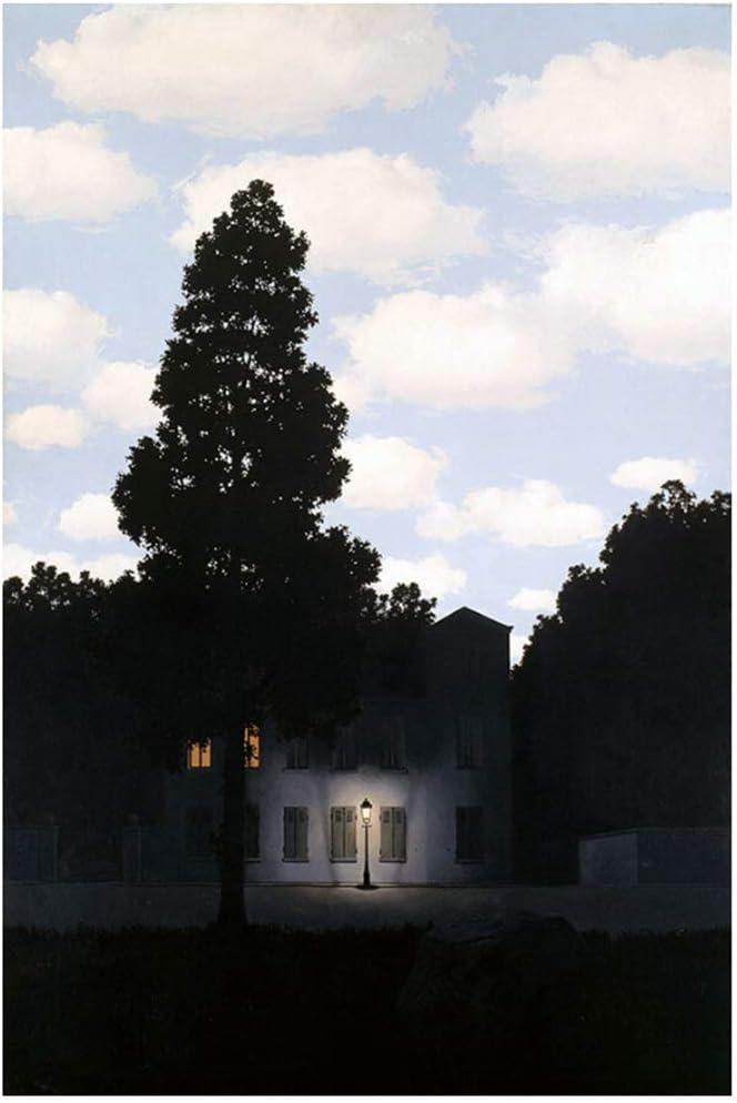 Rene Magritte Imperio de la luz pinturas giclée lienzos Arte de la pared para la sala de estar Decoración del dormitorio Impresión en lienzo-50x70cm Sin marco