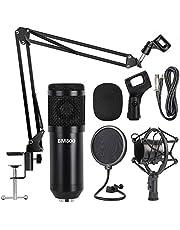 Professional Metal Studio Condenser Microphone Kit BM800 with Pop Filter - Scissor Arm Stand - Shock Mount for Studio Recording Podcasting Broadcasting