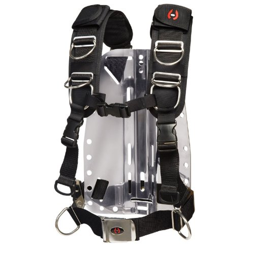 Hollis New Elite II Adjustable Scuba Diving Harness System w/Pre-Strung Aluminum Backplate (Medium/Large)
