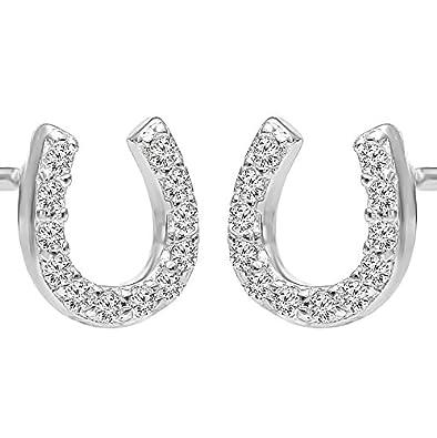 Bling Jewelry Clear CZ April Birthstone Lucky Horseshoe Stud earrings 925 Sterling Silver 10mm 2uwYxgb