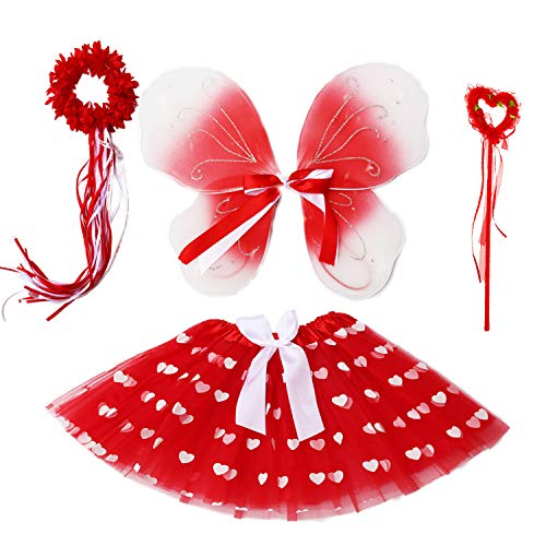 Heart Tutu for Girls Costume Valentine's Day Photo Props Set with Butterfly Wings Tutu Wand Halo (Heart Shape Tutu)