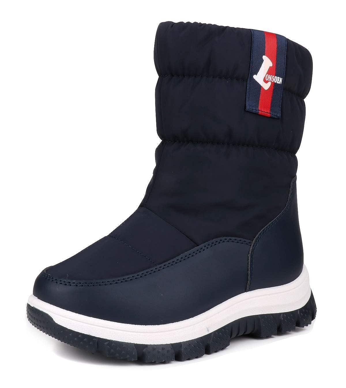 LONSOEN Kids Boys Girls Frosty Winter Snow Boots Fur Lined Warm Anti-Slip Mid Calf Boots