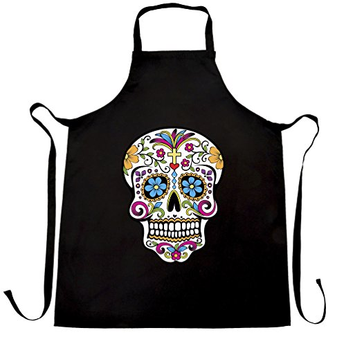 Day Of The Dead Chefs Apron Mexican Sugar Skull Black One Size