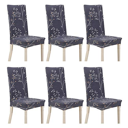 Argstar 6 Pack Chair Covers, Stretch Armless Chair Slipcover for Dining Room Seat Cushion, Spandex Kitchen Parson Chair Protector Cover, Removable & Washable, Gray Branch Leaves Design X_02