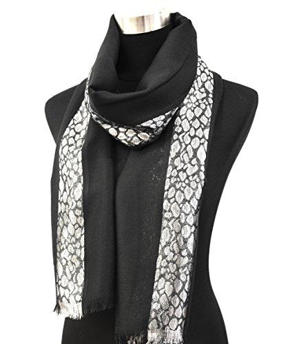PSV54b - Foulard Long Pashmina Automne Hiver Uni et Bande Motif Python Brillant - Mode Femme (Noir)