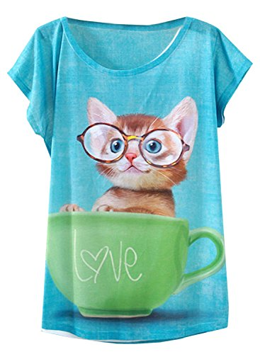 Futurino Women's Lovely Cup Cat in Teacup Print Short Sleeve T shirt Tops,White,X-Small / Small -