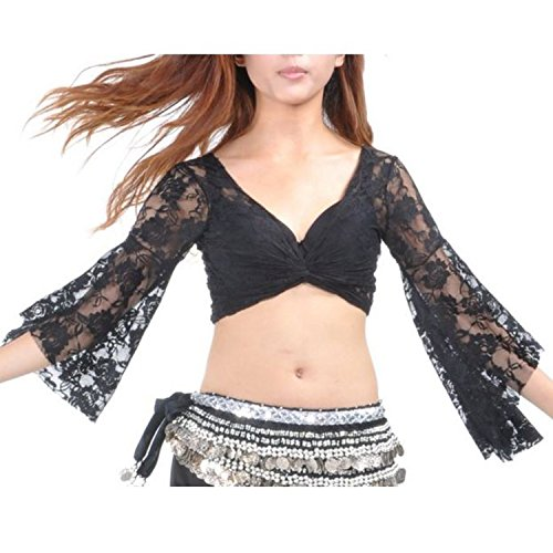 Belly Dancer Costumes Ideas (Tribal Belly Dance Lace Butterfly Sleeve Wrap Top Gift Idea Black)