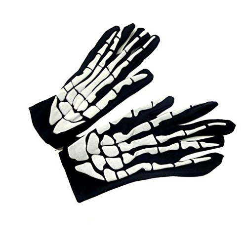 [Singleluci Halloween Costumes Skull Bone Skeleton Full Finger Goth Racing Gloves,Black] (Halloween Costumes Scary Doll)