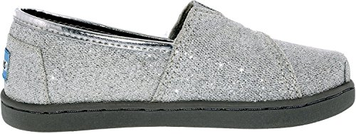TOMS Girl's Classic Canvas Silver Glimmer Ankle-High Fashion Sneaker - 10M - Image 1