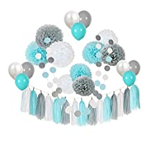 """Ucity 35 pcs Baby Shower Decorations Baby Blue Gray White Paper Pom Poms Flowers Tissue Tassel Polka Dot Paper Garland kit with 12"""" Balloons for 1st Birthday Baby Shower Party Wedding Favors"""