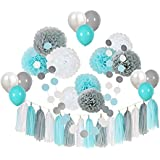 3ct Amscan 181046 Fluffy Baby Shower Hanging Decorations- Boy 16 Multicolor