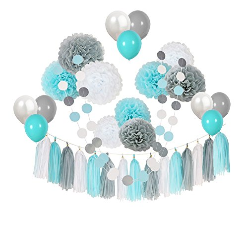 Ucity 35 pcs Baby Shower Decorations Baby Blue Gray White Paper Pom Poms Flowers Tissue Tassel Polka Dot Paper Garland kit with 12
