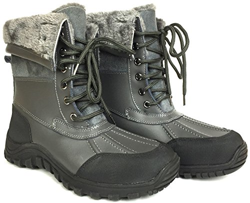 Grey 2076 Waterproof Lined M Lace UP LABO Boots D Fur Snow Women's 7SKy4q4cBP