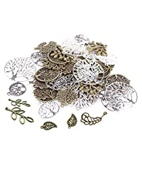 60PCS Life Tree&Flower&Leaf Antique Charms Beads Alloy Pendant Craft Accessory Diy Necklace Bracelet Craft Jewelry Making Supply HK12 …
