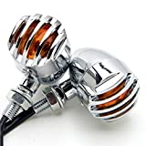 Motorcycle fans 2pcs Heavy Duty Motorcycle Turn Signals Bulb Indicators Blinkers Lights(Silver)