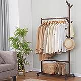 Waterproof wood coat racks,garment rack multipurpose bamboo coat and shoe rack hat bag rack bedroom simple floor standing coat rack storage living office cloakroom assemble-A L83.5cmxW40cmxH178.5cm