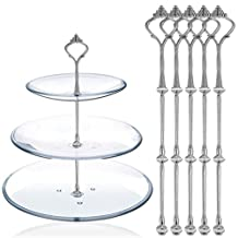 Happy Will 5 Sets 3 Tier Crown Cake Stand Fruit Cake Plate Handle Fitting Hardware Rod Stand Holder with Stylus (Silver)