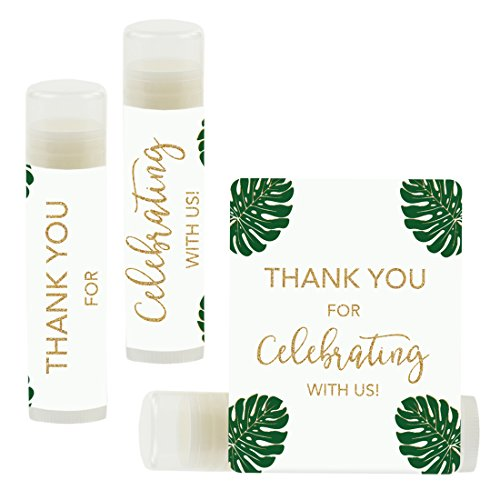 Andaz Press Lip Balm Birthday Party Favors, Thank You for Celebrating with Us, Monstera Leaves, 12-Pack, Cinco de Mayo Mexican Fiesta Themed Decor]()