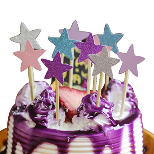 Little rock 10 pcs Twinkle Cake Toppers Cupcake Gold Star Topper Star Cake Decor]()