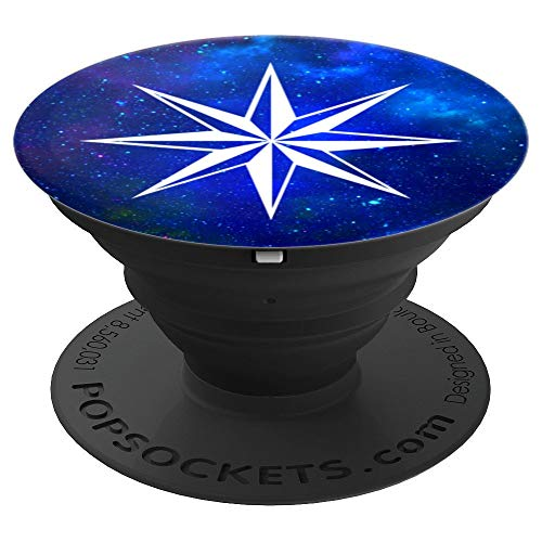 Octagon Nautical Star in Deep Blue Space Galaxy Cute Gift - PopSockets Grip and Stand for Phones and Tablets