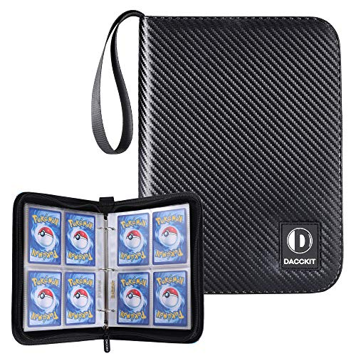 D DACCKIT Carrying Case Binder Compatible with Pokemon Card, Holds Up to 400 Cards - Trading Cards Collectors Album with 50 Premium 4-Pocket Pages (Ripple Black)