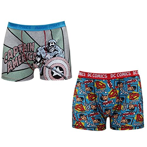 BIG & TALL (Pack of 2) Mens SUPERMAN & CAPTAIN AMERICA Comfortable Fit Boxer Shorts XXL Multicolor (Captain America Underwear)