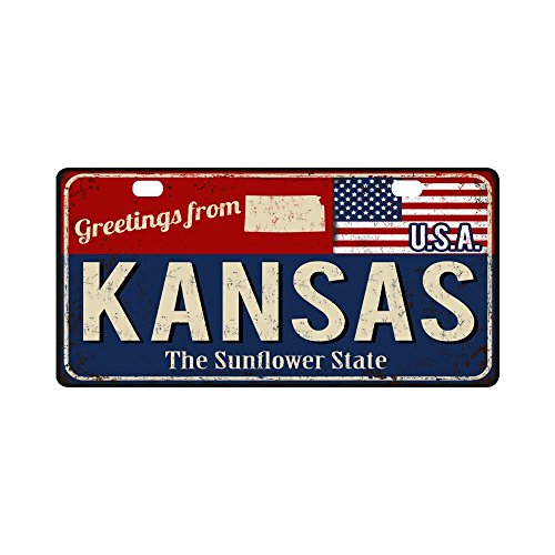 Kansas License Plate - InterestPrint Kansas the Sunflower State Rusty Metal Sign with USA Flag Metal License Plate for Car, Metal Auto Tag for Woman Man, 11.8 x 6.1 Inch