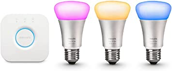 Philips Hue White Ambiance Smart Bulb Starter Kit 4 A19 Bulbs and 1 Hub Works with Alexa Apple HomeKit and Google Assistant CQMTO 471986