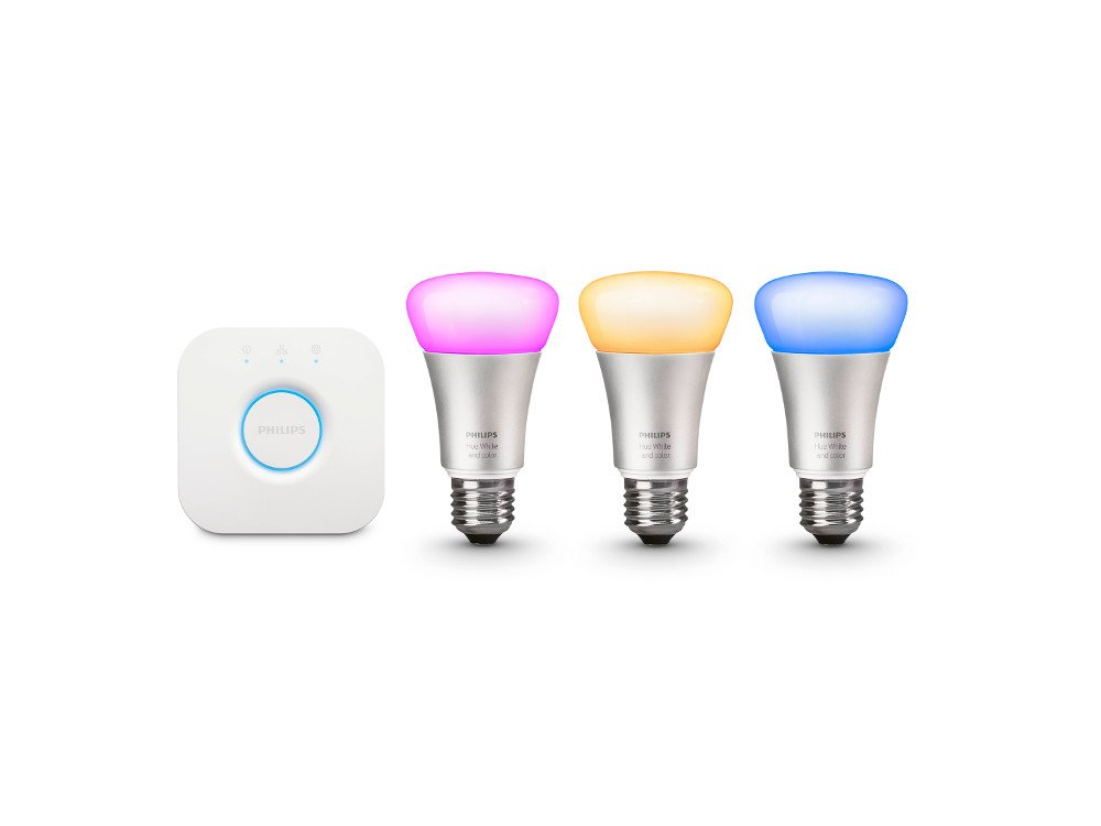 Philips Hue White and Color Ambiance Smart Bulb Starter Kit (3 A19 Bulbs and 1 Bridge, Compatible with Amazon Alexa, Apple HomeKit and Google Assistant) by Philips Lighting Company (PHDM9)