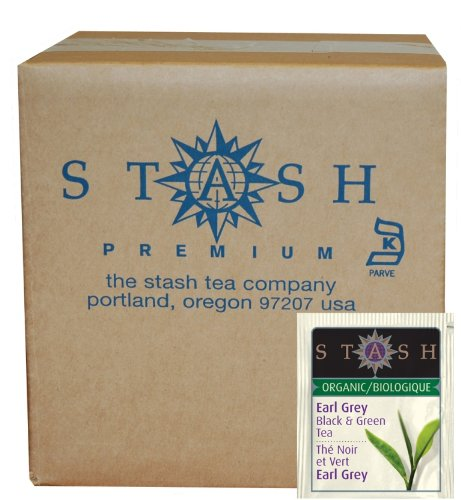 Stash Tea Organic Black and Green Tea Bags in Foil, Earl Grey, 100 Count (packaging may vary) 100% Organic Black Tea