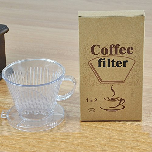 Pansdore Acrylic Coffee Maker Dripper with 40-Count Replacement Paper Filters #102, Cone one Cup ...