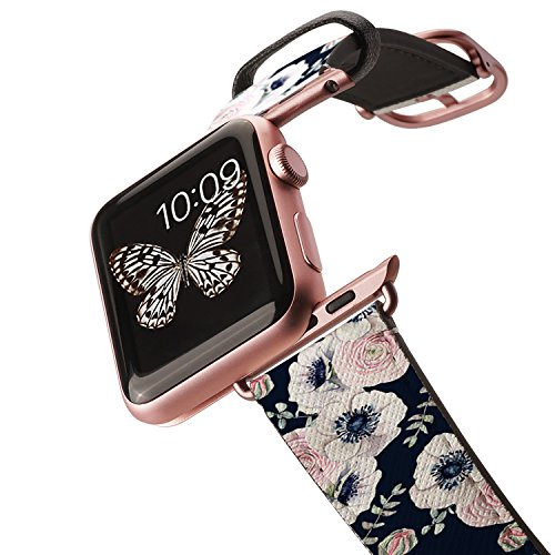 Casetify Floral Flower Bands for Apple Watch Bands 38mm 42mm with Rose Gold Stainless Steel Buckle Replacement Band for iWatch Apple Watch Series 4 Series 3 Series 2 Series 1 (Navy Blossom Love)