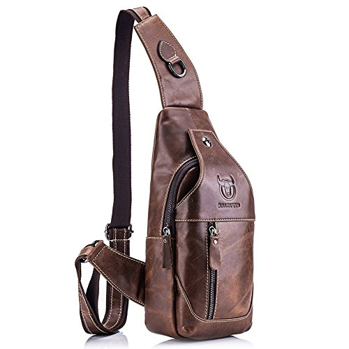 Mens Messenger Leather (Stuo Men's Genuine Leather Shoulder Crossbody Bag Messenger Daypack For Business Casual Sport Hiking Travel Brown)
