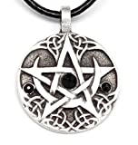 Trilogy Jewelry Pewter Lunar Pentagram with 3 Swarovski Crystals for Birthday on Leather Necklace