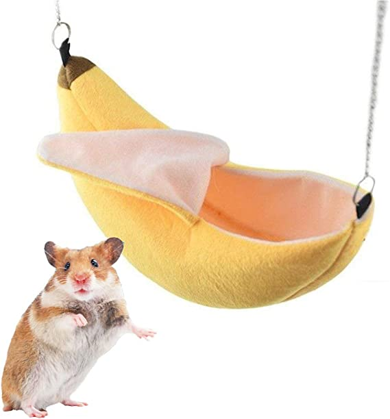 BianchiPatricia Lovely Cute Banana Shape Hanging Bed For Hamster Small Cotton Sleep Nest House