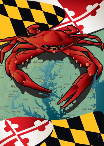 Citizen Pride Maryland Red Crab Large House Flag by Joe Barsin, - Flag Polyester Dyed